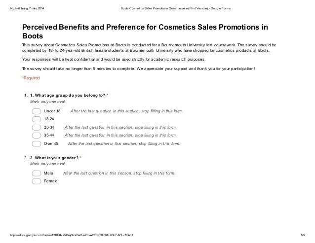 sales promotion questionnaire Questionnaire sampling method: • to identify the most influential tool of sales promotion on consumer buying behavior sales promotion should be promoted.
