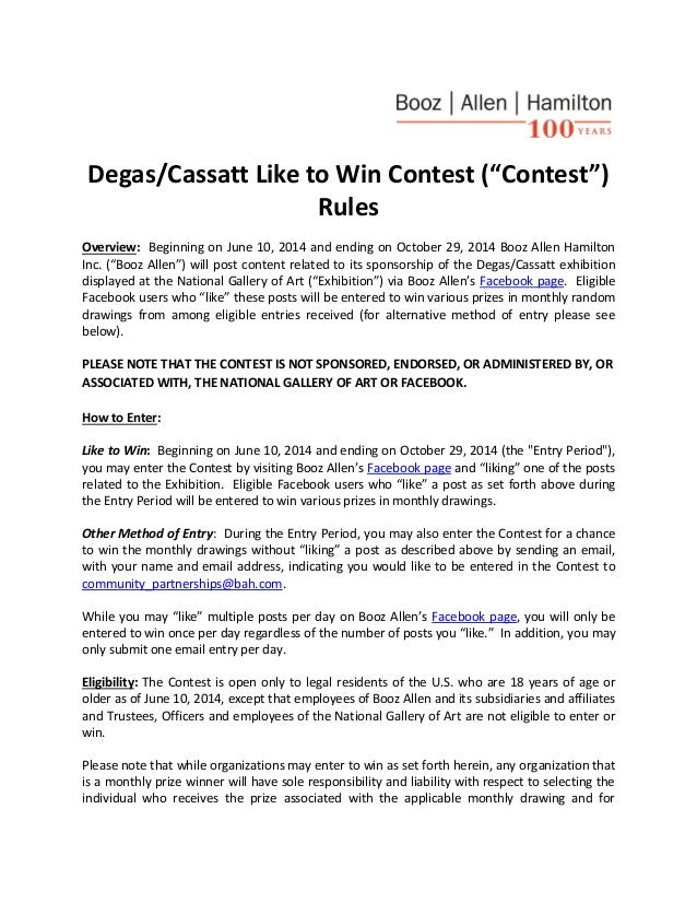 "Degas/Cassatt Like to Win Contest (""Contest"") Rules Overview: Beginning on June 10, 2014 and ending on October 29, 2014 Bo..."