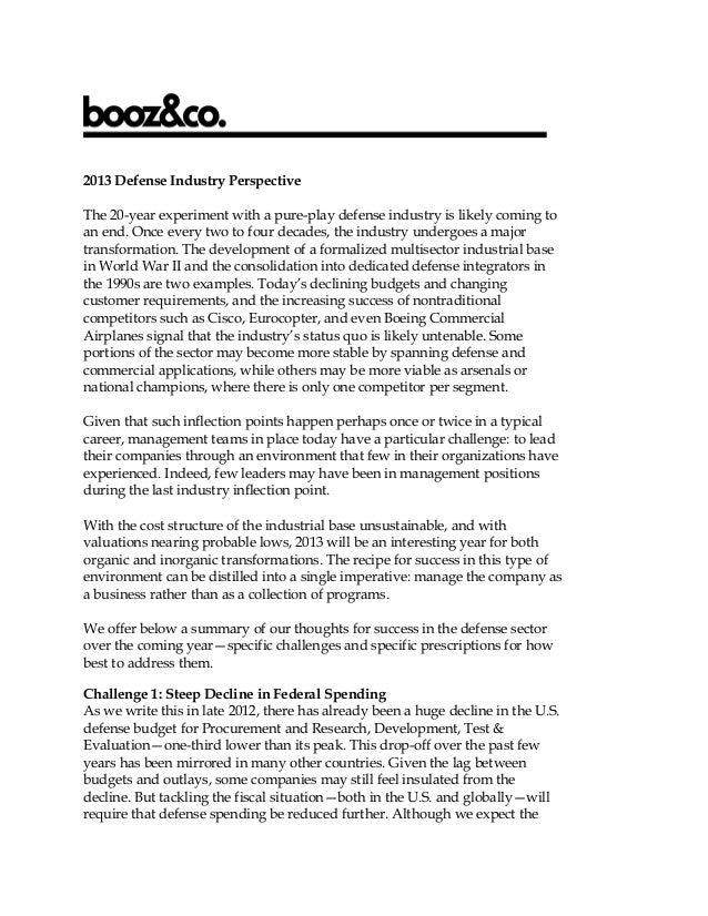Booz & Company 2013 Defense Industry Perspective