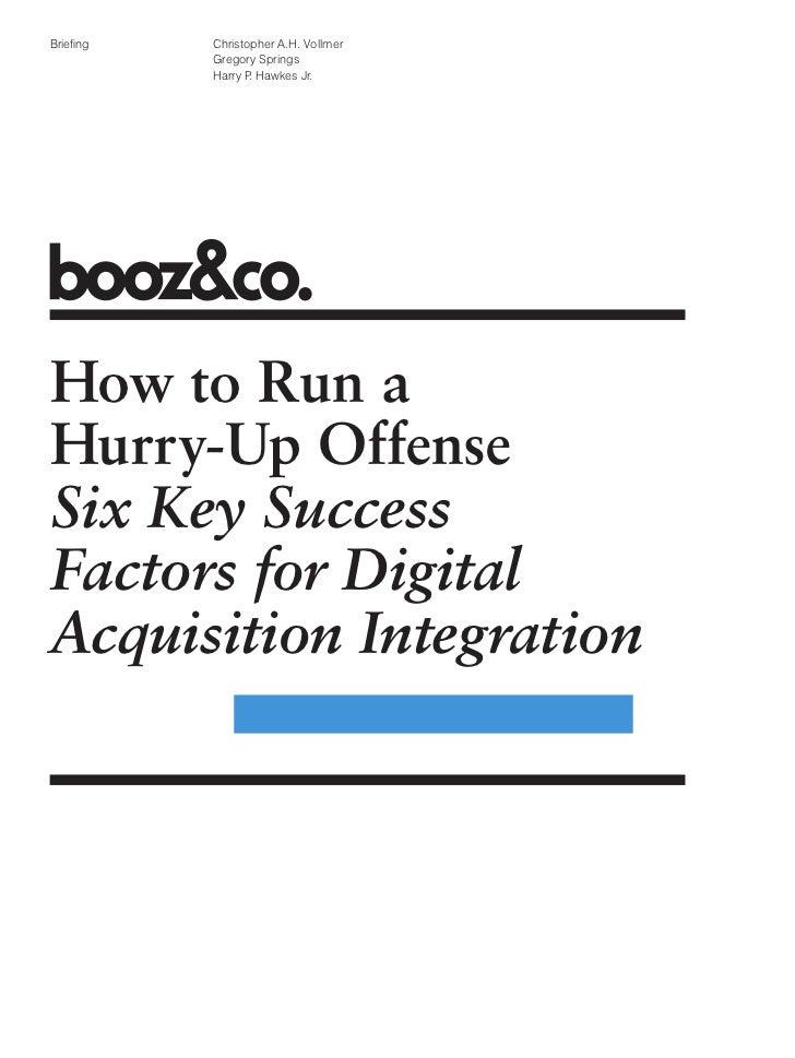 Booz Co Success Factors Digital Acquisition Integration