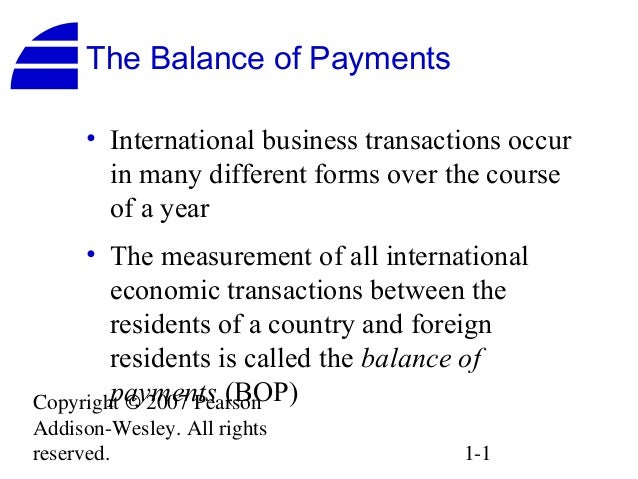 The Balance of Payments     • International business transactions occur       in many different forms over the course     ...