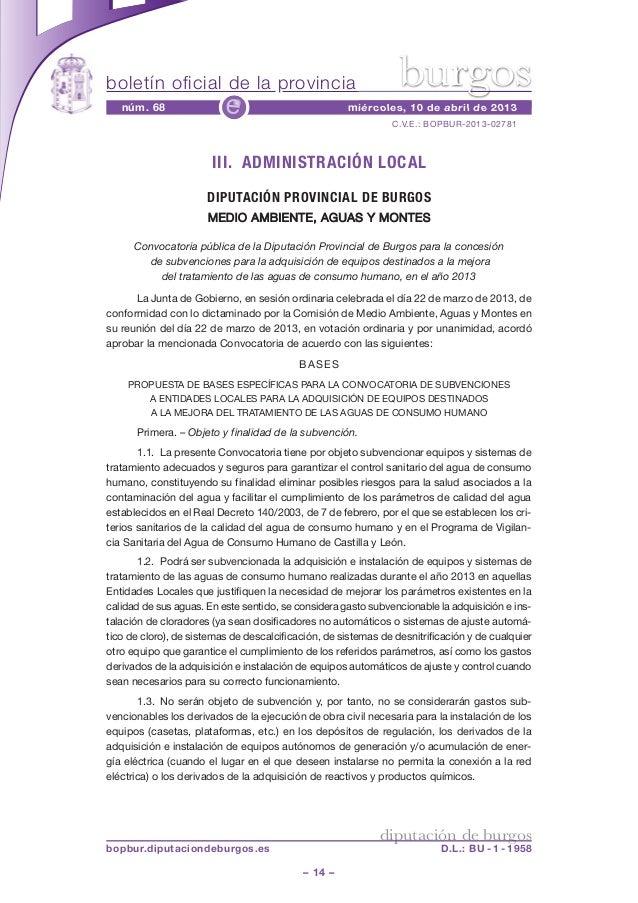 Convocatoria pública de la Diputación Provincial de Burgos para la concesión de subvenciones a entidades locales para la adquisición de equipos destinados a la mejora del tratamiento de las aguas de consumo humano, en el año 2013