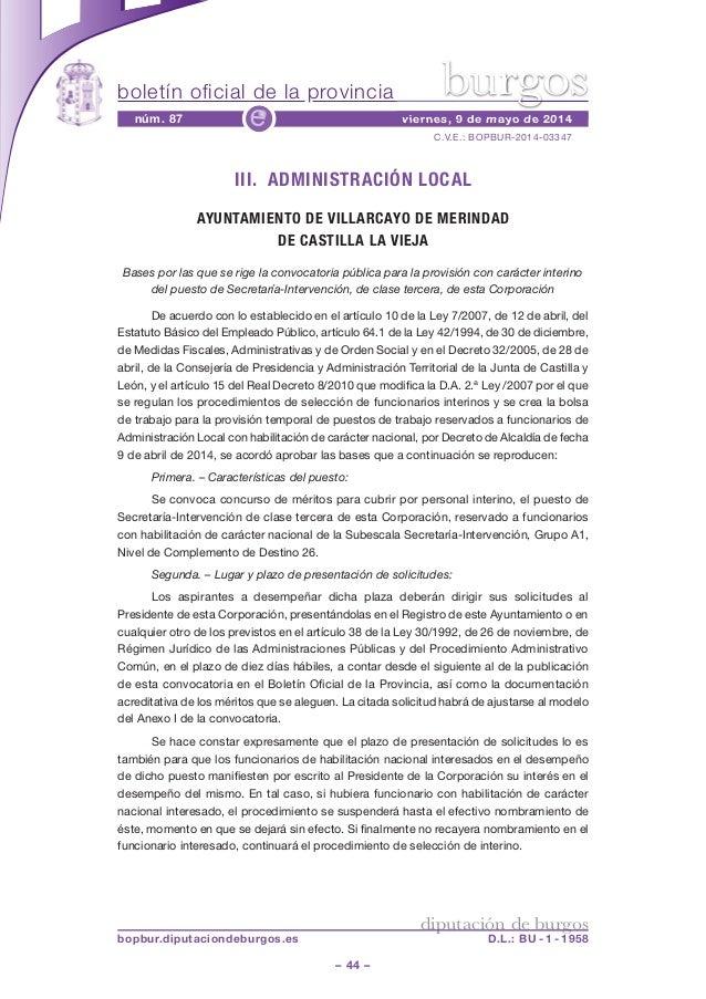 boletín oficial de la provincia – 44 – C.V.E.: BOPBUR-2014-03347 núm. 87 viernes, 9 de mayo de 2014e diputación de burgos ...