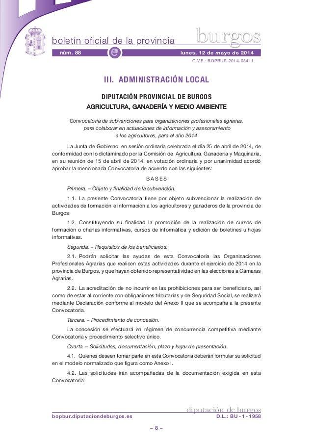 boletín oficial de la provincia – 8 – C.V.E.: BOPBUR-2014-03411 núm. 88 lunes, 12 de mayo de 2014e diputación de burgos bo...