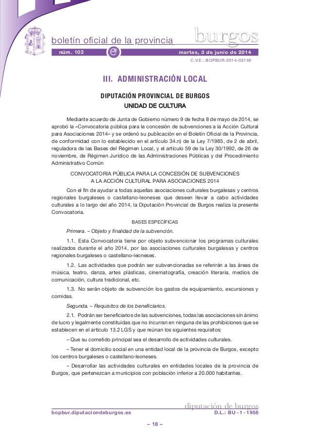 boletín oficial de la provincia – 18 – C.V.E.: BOPBUR-2014-03746 núm. 103 martes, 3 de junio de 2014e diputación de burgos...