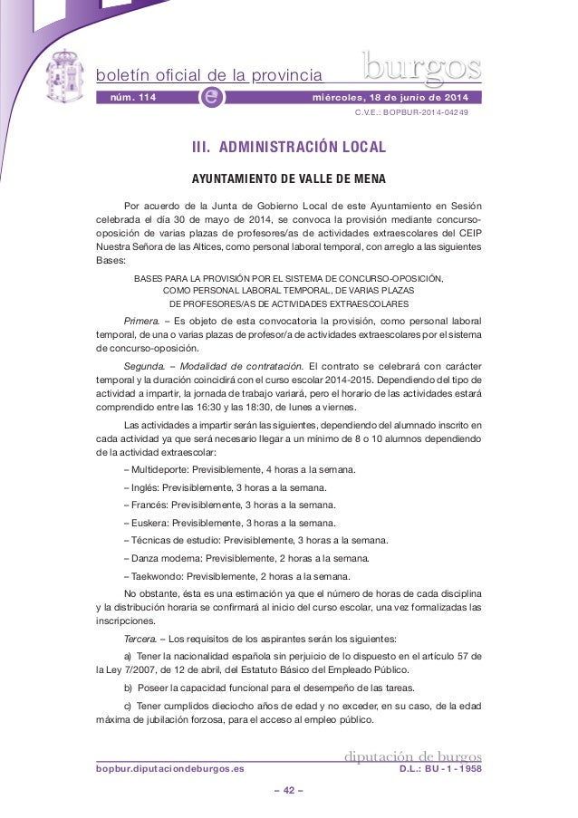 boletín oficial de la provincia – 42 – C.V.E.: BOPBUR-2014-04249 núm. 114 miércoles, 18 de junio de 2014e diputación de bu...