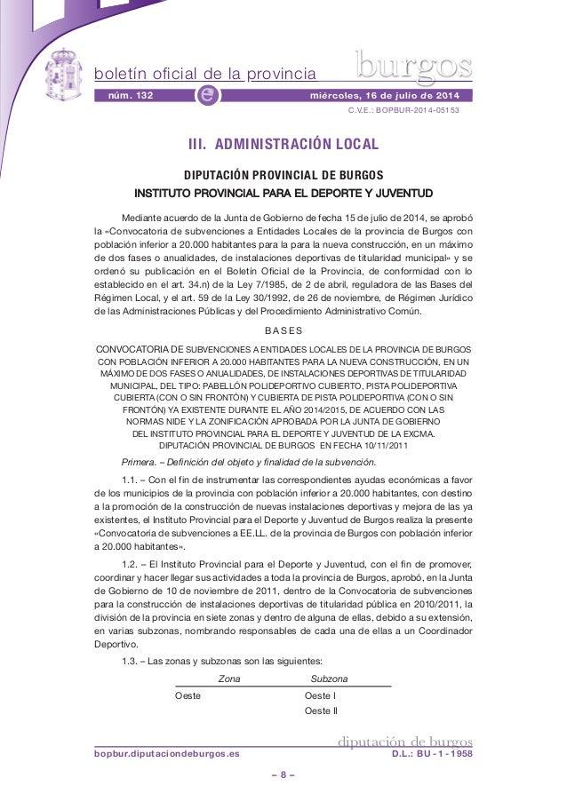 boletín oficial de la provincia – 8 – C.V.E.: BOPBUR-2014-05153 núm. 132 miércoles, 16 de julio de 2014e diputación de bur...