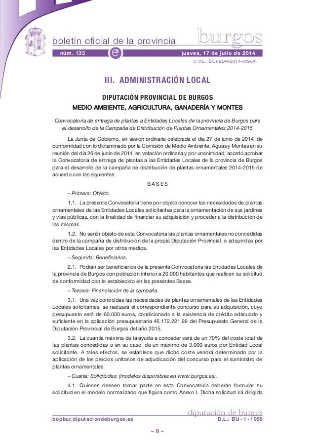 boletín oficial de la provincia – 8 – C.V.E.: BOPBUR-2014-04964 núm. 133 jueves, 17 de julio de 2014e diputación de burgos...