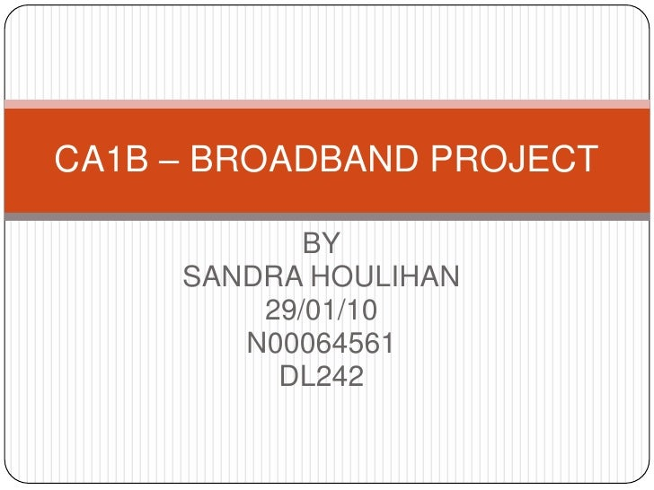 BY<br />SANDRA HOULIHAN<br />29/01/10<br />N00064561<br />DL242<br />CA1B – BROADBAND PROJECT<br />