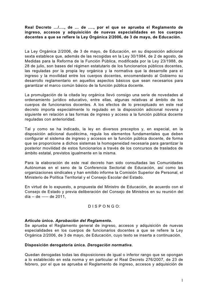 Real Decreto …/…., de … de …., por el que se aprueba el Reglamento deingreso, accesos y adquisición de nuevas especialidad...