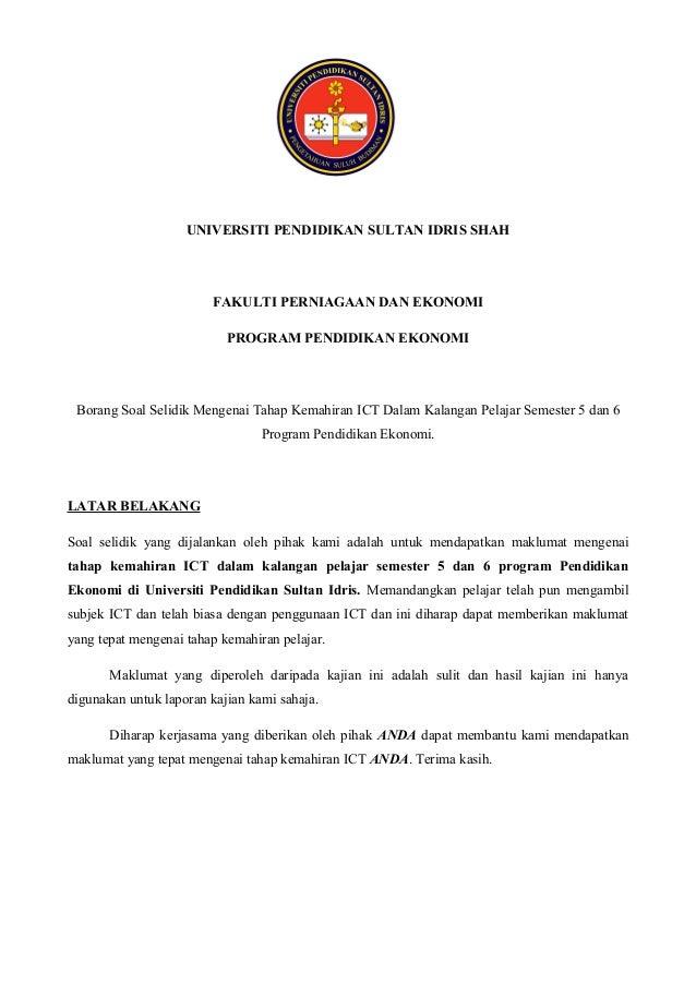 UNIVERSITI PENDIDIKAN SULTAN IDRIS SHAH                        FAKULTI PERNIAGAAN DAN EKONOMI                           PR...