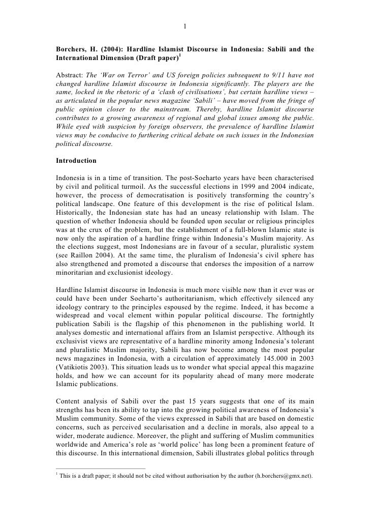 1   Borchers, H. (2004): Hardline Islamist Discourse in Indonesia: Sabili and the International Dimension (Draft paper)1  ...