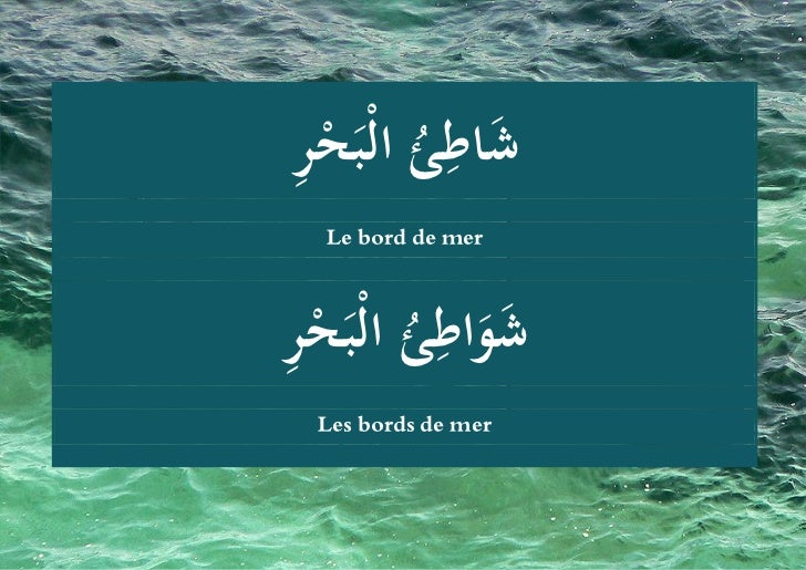 ِ          ِشُ ُ َ اط ُ الْبَح  ئ ْر     Le bord de mer  ِ  ئ ْر       ِ شو  ُ َ َ اط ُ الْبَح    Les bords de...