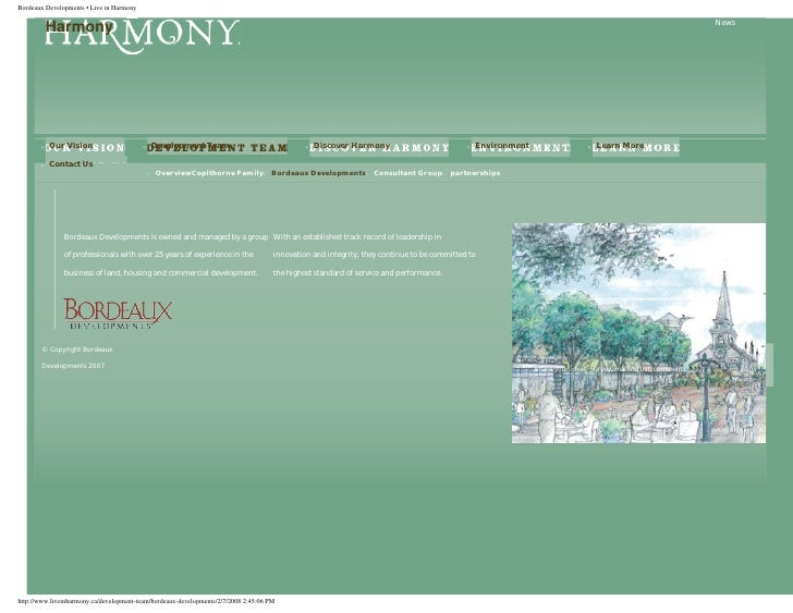 Bordeaux Developments • Live In Harmony