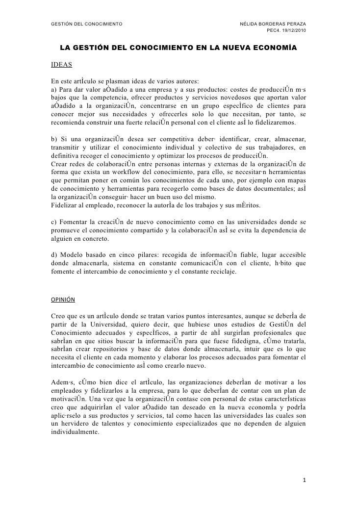 GESTIÓN DEL CONOCIMIENTO                                         NÉLIDA BORDERAS PERAZA                                   ...