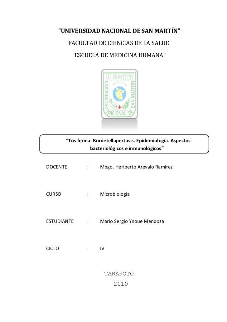 """""""UNIVERSIDAD NACIONAL DE SAN MARTÍN""""          FACULTAD DE CIENCIAS DE LA SALUD           """"ESCUELA DE MEDICINA HUMANA""""     ..."""
