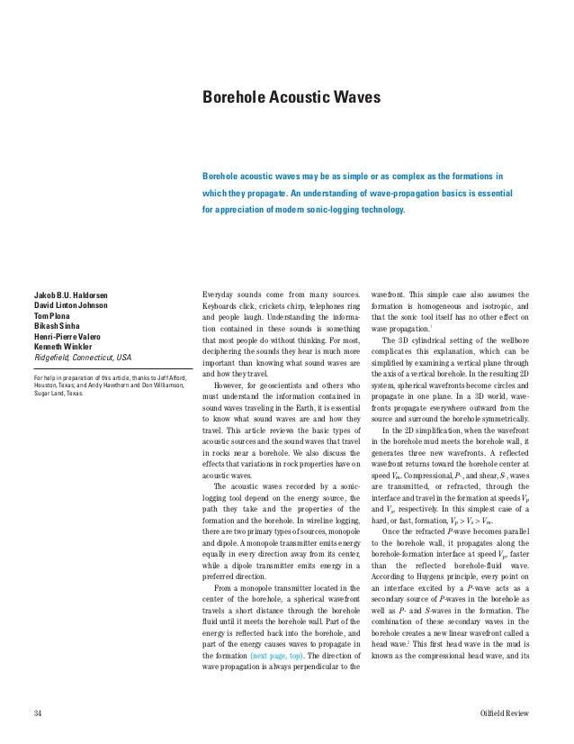 Borehole Acoustic Waves                                                                  Borehole acoustic waves may be as...