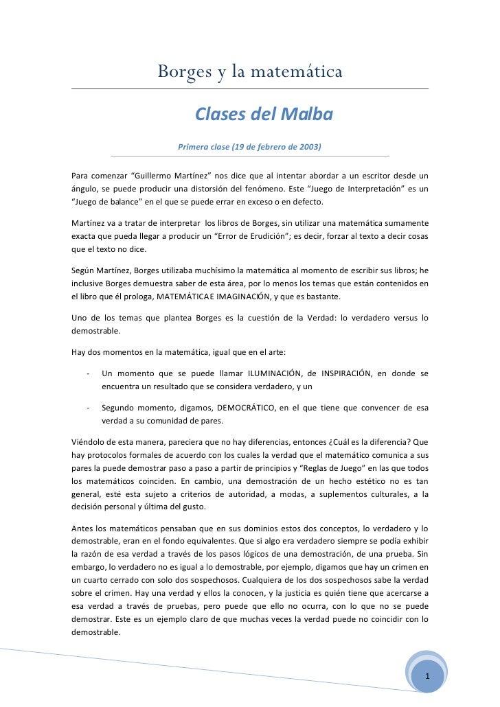 Borges y la matemática                                   Clases del Malba                              Primera clase (19 d...