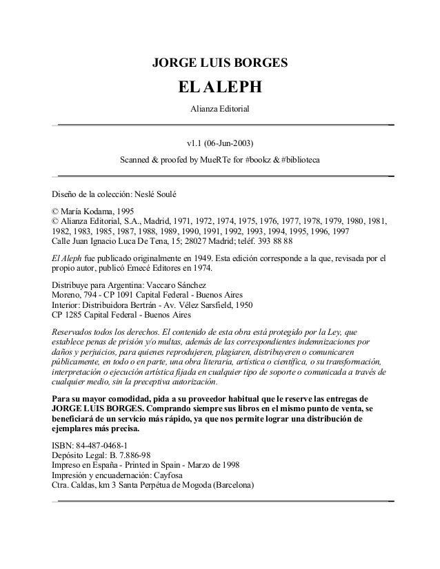JORGE LUIS BORGES                                      EL ALEPH                                        Alianza Editorial  ...