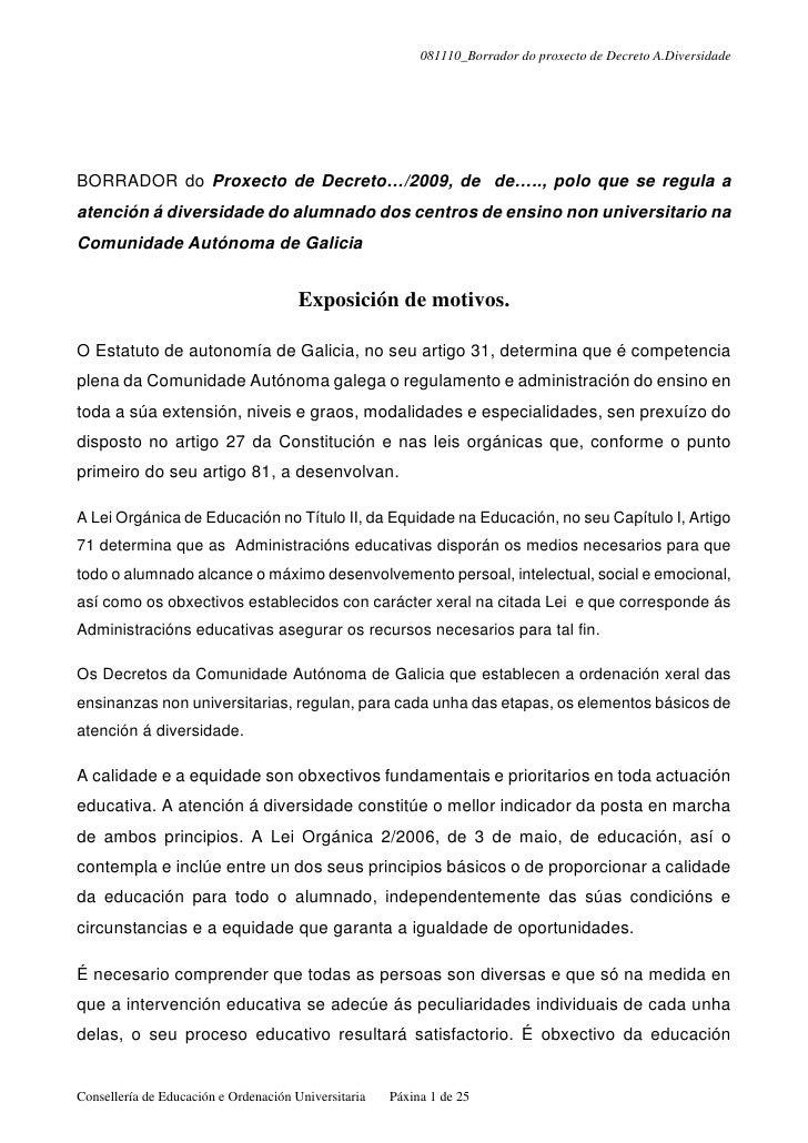 081110_Borrador do proxecto de Decreto A.Diversidade     BORRADOR do Proxecto de Decreto…/2009, de de….., polo que se regu...
