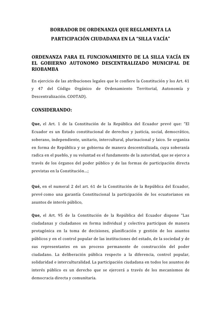 """BORRADOR DE ORDENANZA QUE REGLAMENTA LA          PARTICIPACIÓN CIUDADANA EN LA """"SILLA VACÍA""""ORDENANZA PARA EL FUNCIONAMIEN..."""