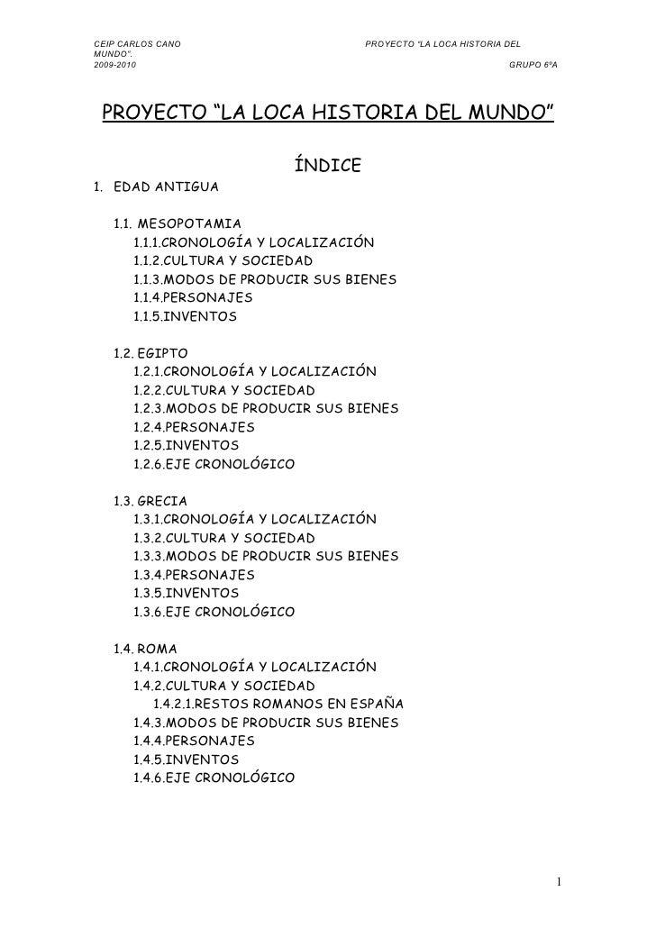 """CEIP CARLOS CANO                     PROYECTO """"LA LOCA HISTORIA DEL MUNDO"""". 2009-2010                                     ..."""