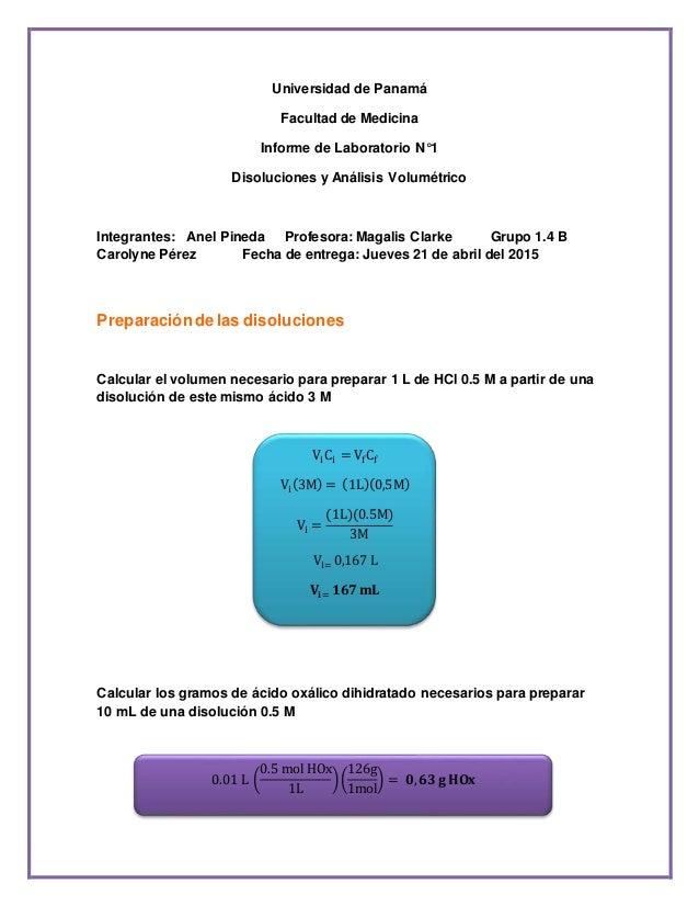 Universidad de Panamá Facultad de Medicina Informe de Laboratorio N°1 Disoluciones y Análisis Volumétrico Integrantes: Ane...