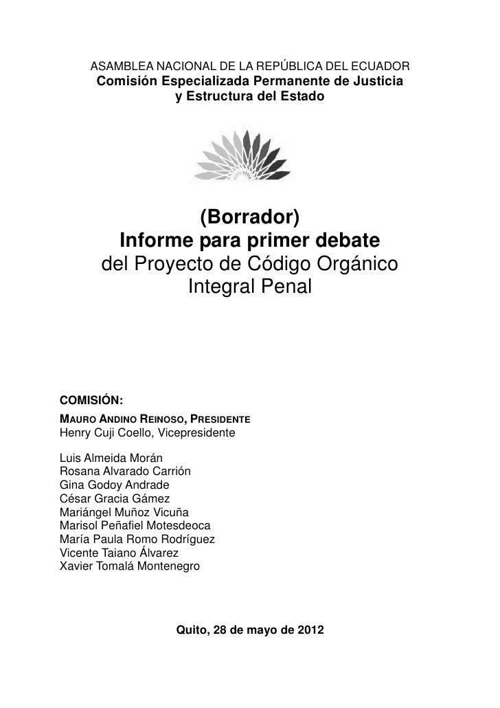 ASAMBLEA NACIONAL DE LA REPÚBLICA DEL ECUADOR      Comisión Especializada Permanente de Justicia                 y Estruct...