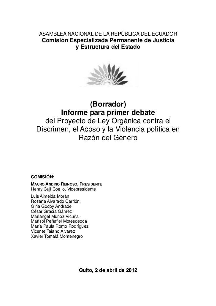 Borrador de  Informe para el Primer Debate de Ley contra el discrimen el acoso y la violencia política en razón de género.