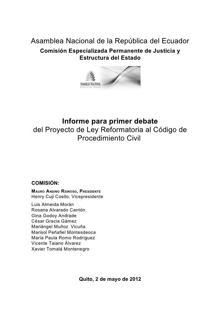Asamblea Nacional de la República del Ecuador   Comisión Especializada Permanente de Justicia y               Estructura d...