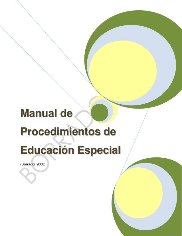 Borrador manual de procedimientoe educacion especial