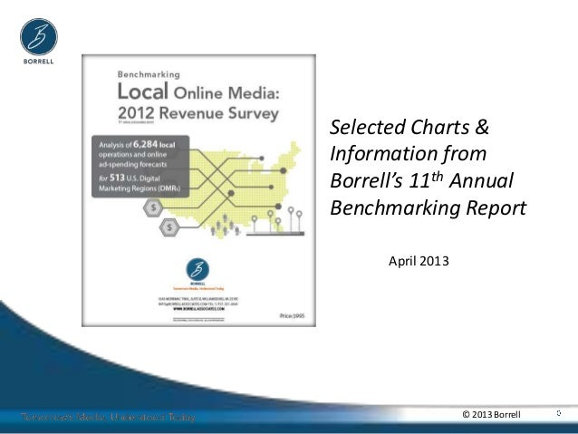 Selected Charts &Information fromBorrell's 11th AnnualBenchmarking Report      April 2013                   © 2013 Borrell
