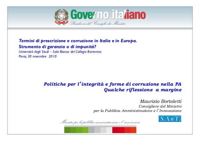 Bortoletti, corruzione e prescrizione, transparency international, pavia,30 novembre 2010