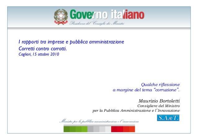 Bortoletti, imprese e pubblica amministrazione, efficienza, cagliari,15 ottobre 2010