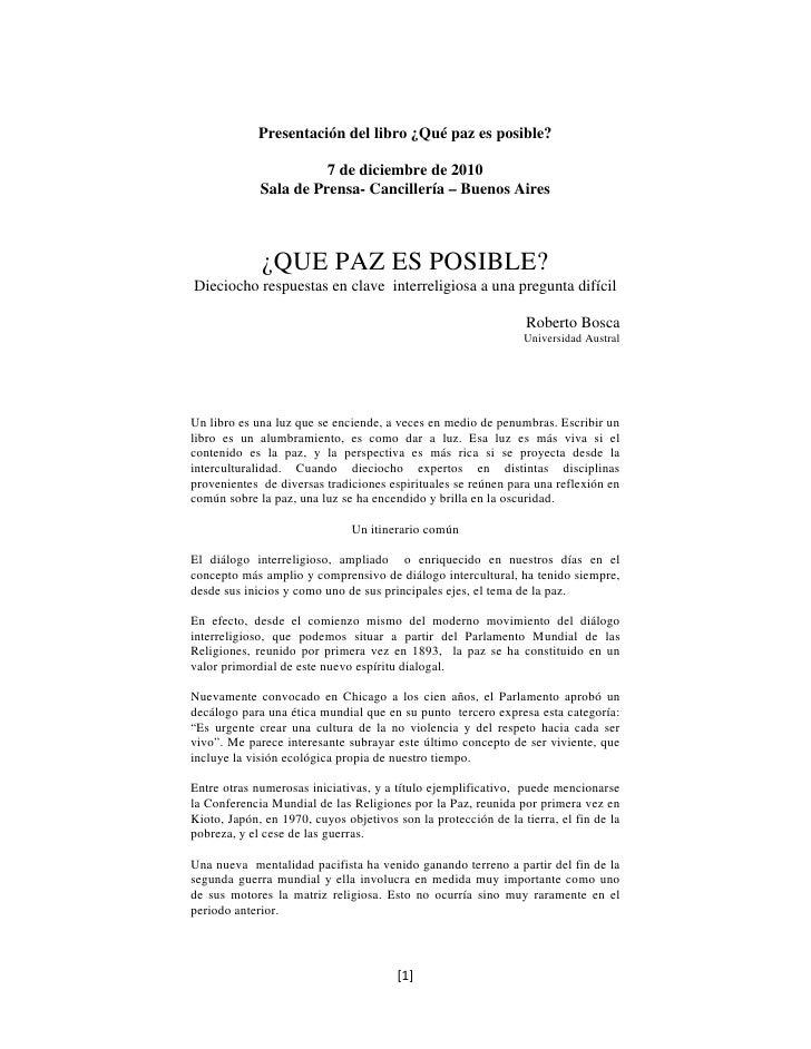 Presentación del libro ¿Qué paz es posible?                       7 de diciembre de 2010             Sala de Prensa- Canci...