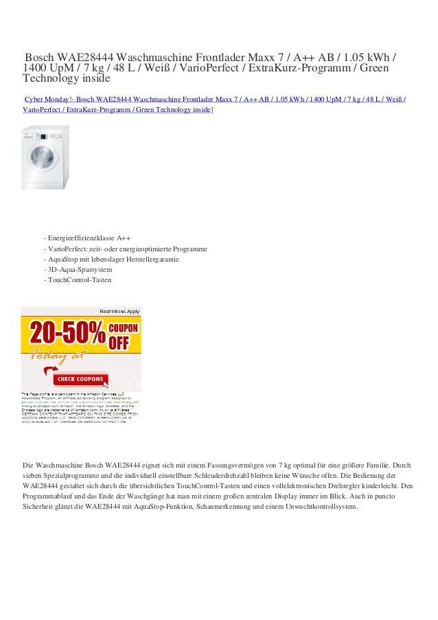 Bosch WAE28444 Waschmaschine Frontlader Maxx 7 / A++ AB / 1.05 kWh /1400 UpM / 7 kg / 48 L / Weiß / VarioPerfect / ExtraKu...