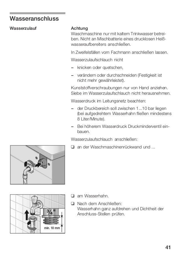 Bosch instruction manual ~ Waschmaschine Wasseranschluss