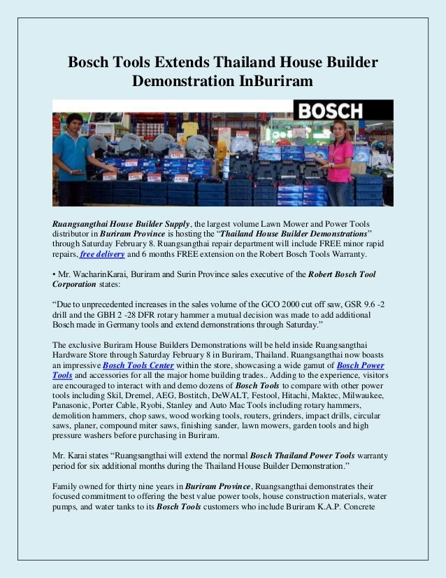 Bosch Tools Extends Thailand House Builder Demonstration InBuriram  Ruangsangthai House Builder Supply, the largest volume...
