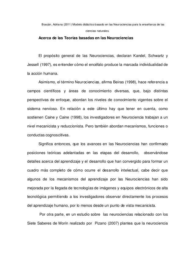 Boscán, Adriana (2011) Modelo didáctico basado en las Neurociencias para la enseñanza de las ciencias naturales.  Acerca d...