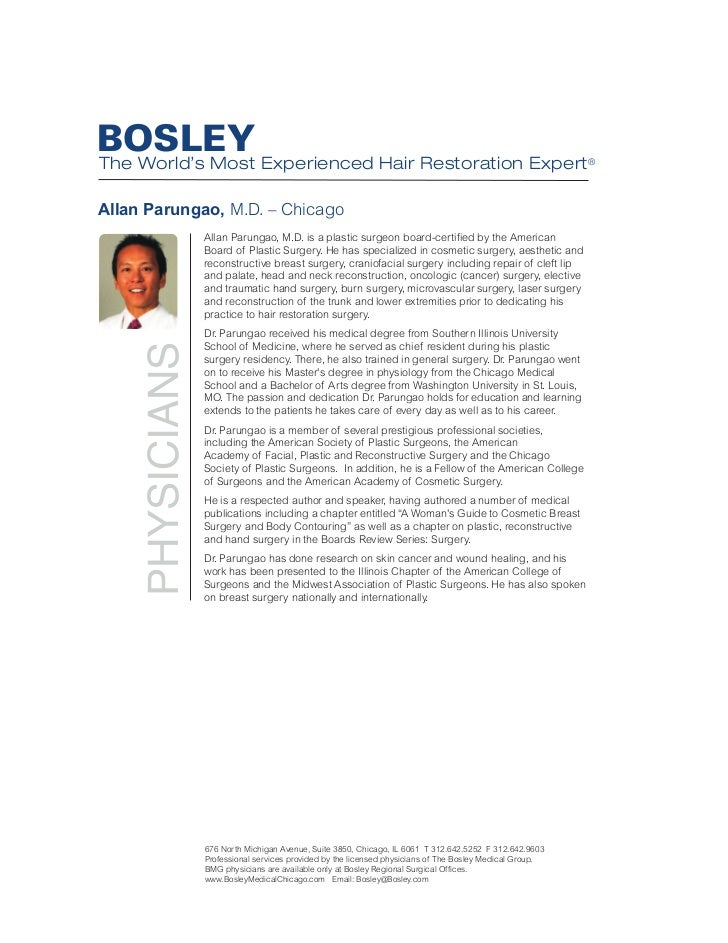 BOSLEY The World's Most Experienced Hair Restoration Expert® Allan Parungao, M.D. – Chicago             Allan Parungao, M....