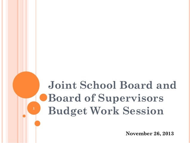 Joint School Board and Board of Supervisors Budget Work Session