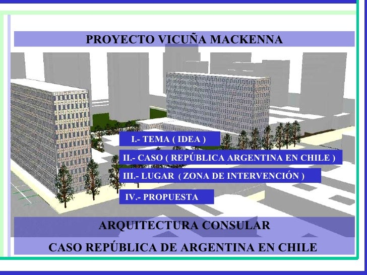 ARQUITECTURA CONSULAR CASO REPÚBLICA DE ARGENTINA EN CHILE  PROYECTO VICUÑA MACKENNA I.- TEMA ( IDEA )   II.- CASO ( REPÚB...