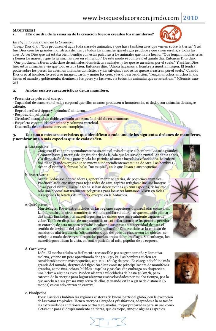 www.bosquesdecorazon.jimdo.com 2010MAMÍFEROS I1.   ¿En que día de la semana de la creación fueron creados los mamíferos?En...
