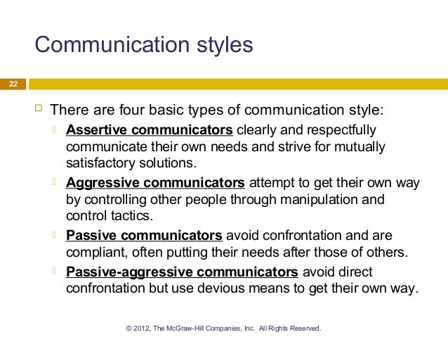 four effective styles of communication in Effective communication in nursing can lead to better care for patients and a more efficient changes in these two communication types can be difficult to assess.