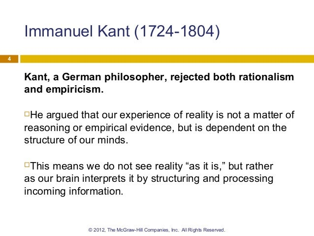 kant empiricism and rationalism essay Free essay: rationalism vs empiricism - history and summary what is reality really like a current running through much of the philosophical thinking around.