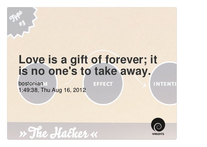 Love is a gift of forever; it is no one's to take away.