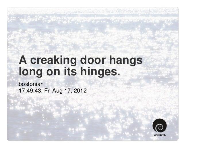 A creaking door hangs long on its hinges.