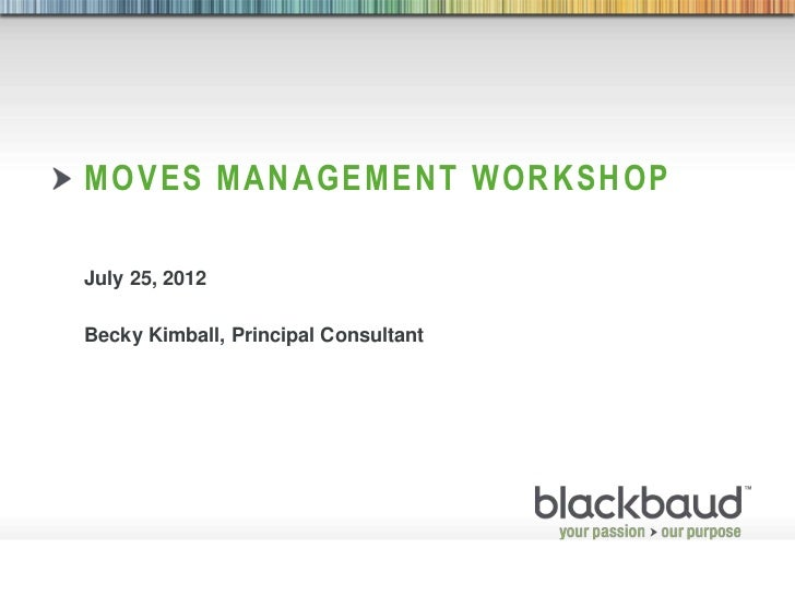 MOVES MANAGEMENT WORKSHOP           July 25, 2012           Becky Kimball, Principal Consultant8/2/2012                   ...