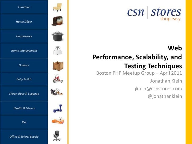 Web Performance, Scalability, and Testing Techniques<br />Boston PHP Meetup Group – April 2011<br />Jonathan Klein<br />jk...