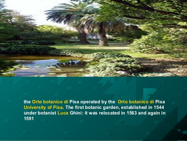 the Orto botanico di Pisa operated by the Orto botanico di PisaUniversity of Pisa. The first botanic garden, established i...